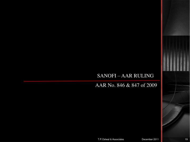 SANOFI – AAR RULING
