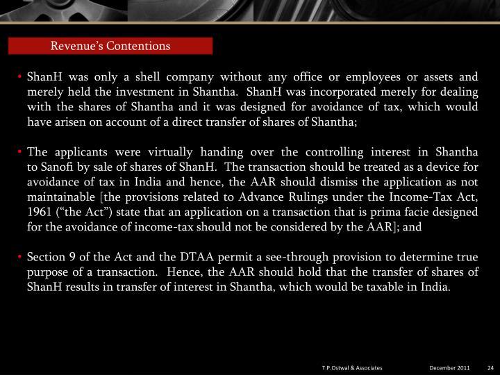 Revenue's Contentions
