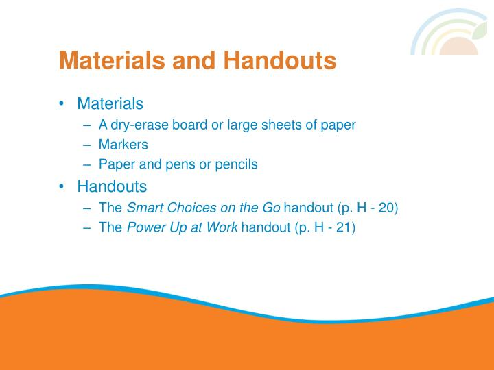 Materials and Handouts