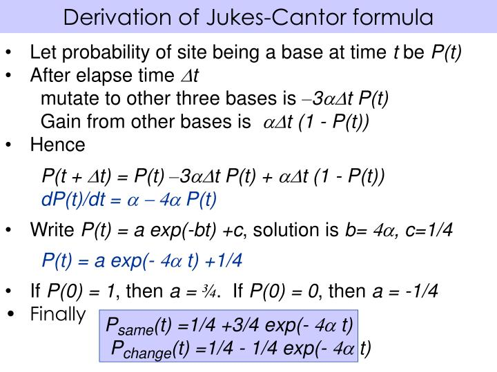 Derivation of Jukes-Cantor formula