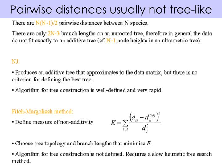 Pairwise distances usually not tree-like