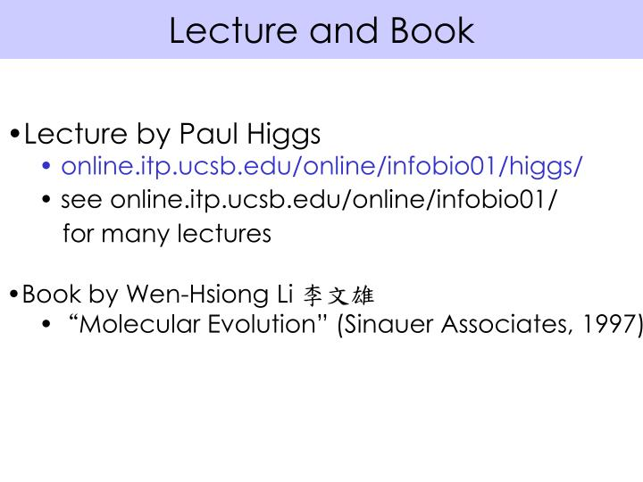Lecture and Book