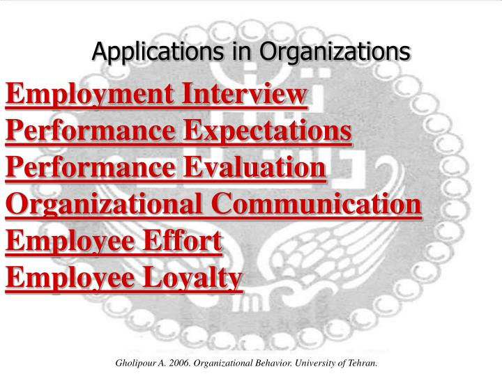 Applications in Organizations