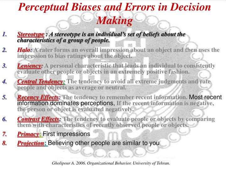 Perceptual Biases and Errors in Decision Making