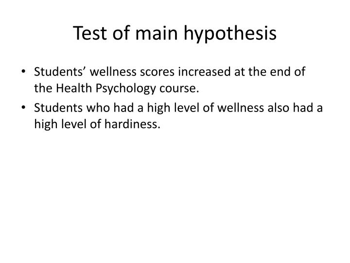 Test of main hypothesis