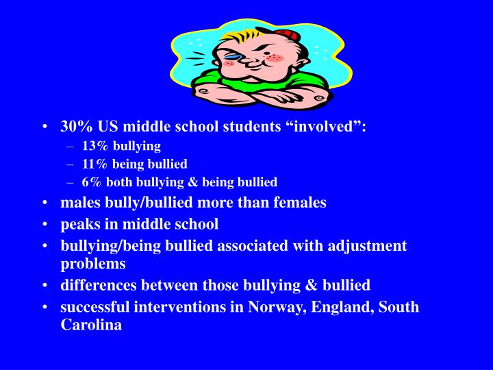 """30% US middle school students """"involved"""":"""