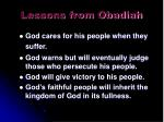 lessons from obadiah