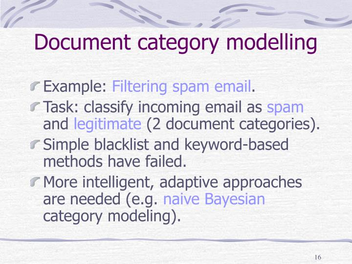 Document category modelling