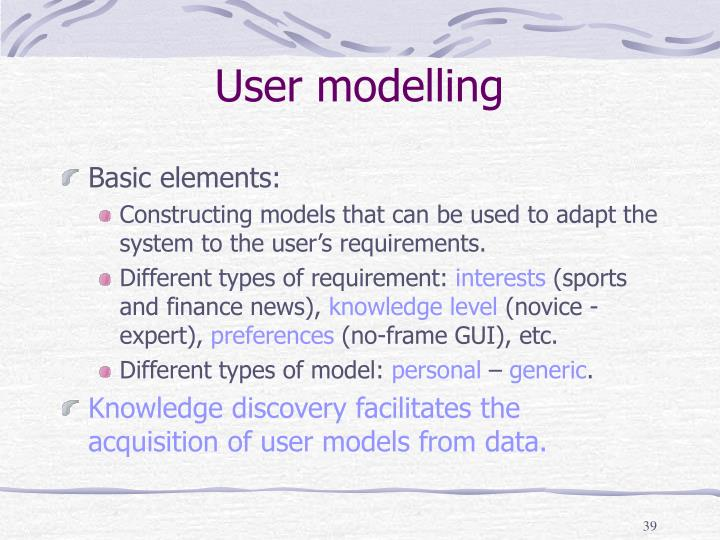 User modelling