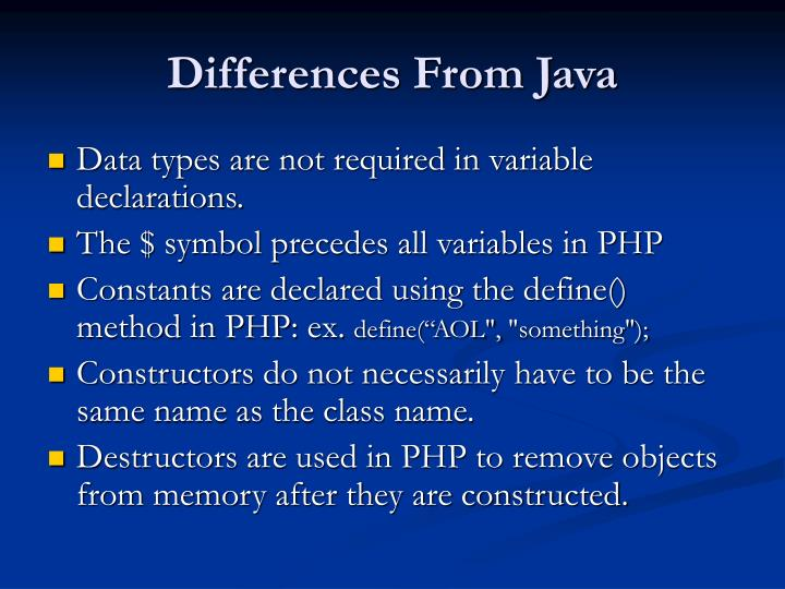 Differences From Java
