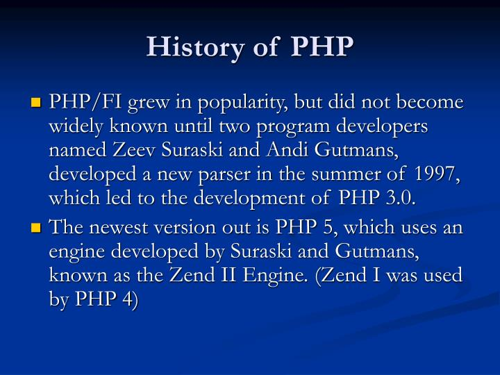 History of PHP