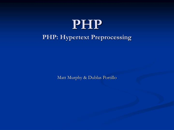 Php php hypertext preprocessing