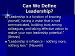 can we define leadership