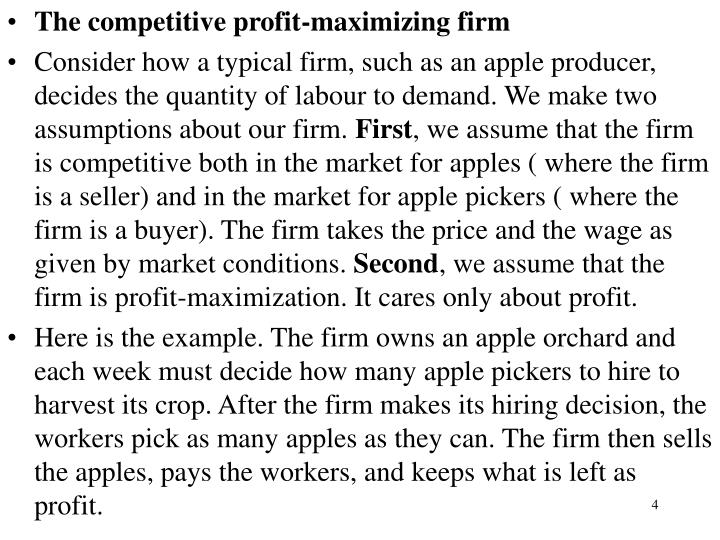 The competitive profit-maximizing firm