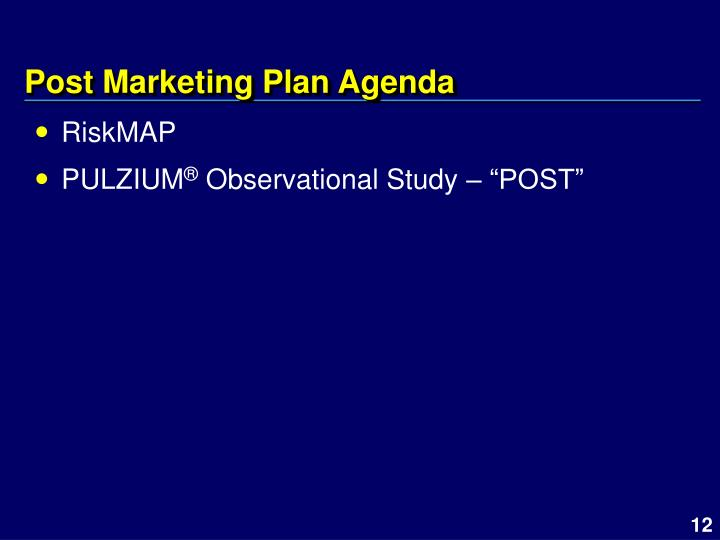 Post Marketing Plan Agenda