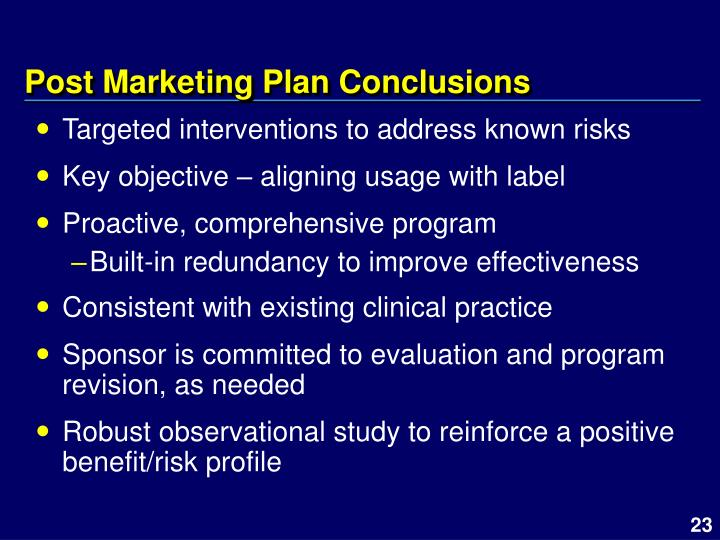 Post Marketing Plan Conclusions
