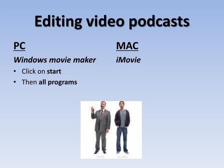 Editing video podcasts