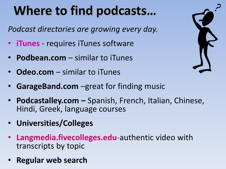 Where to find podcasts…