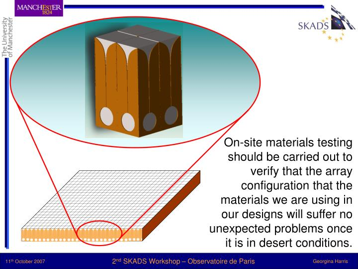 On-site materials testing should be carried out to verify that the array configuration that the materials we are using in our designs will suffer no unexpected problems once it is in desert conditions.