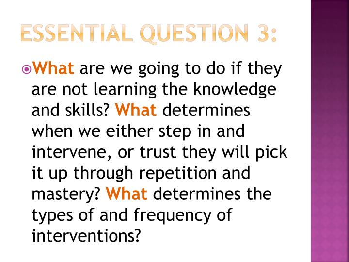 Essential Question 3: