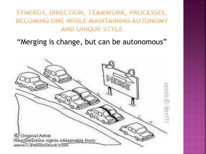 Synergy, Direction, teamwork, processes, Becoming one while maintaining Autonomy and unique style