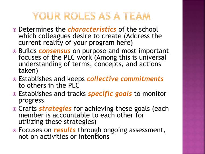 Your roles as a team