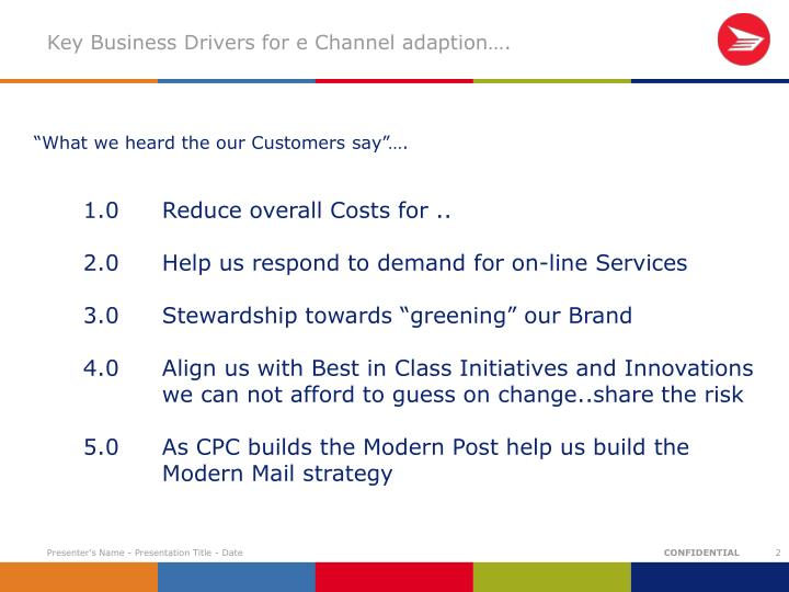 Key Business Drivers for e Channel adaption….