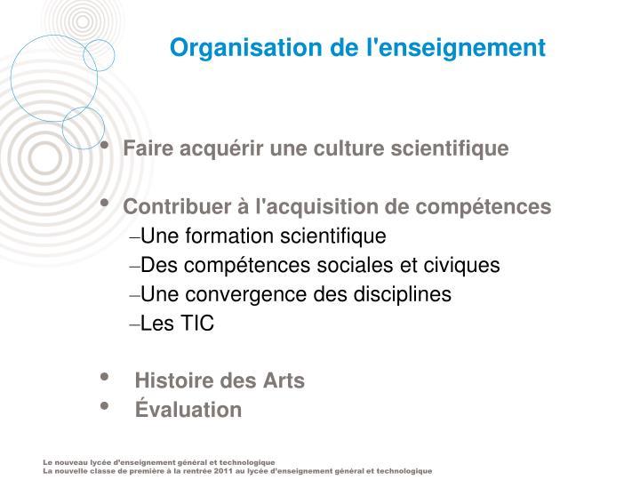 Organisation de l'enseignement