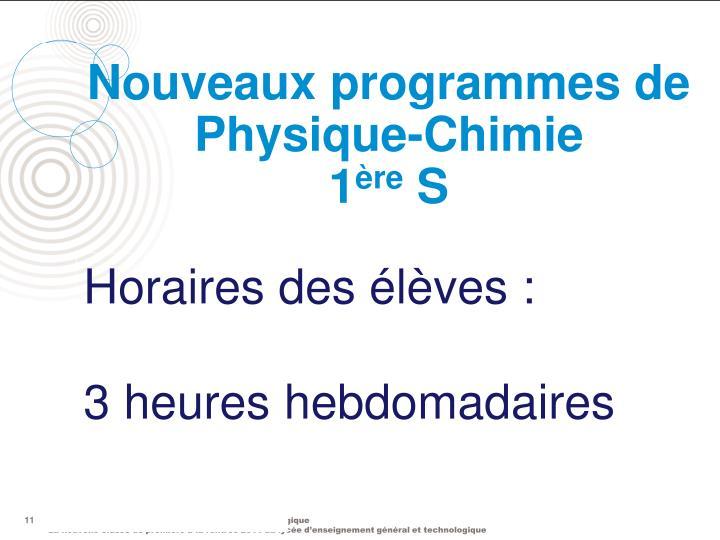 Nouveaux programmes de Physique-Chimie