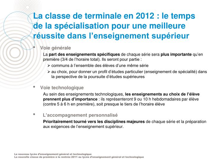 La classe de terminale en 2012 : le temps de la spécialisation pour une meilleure réussite dans l'enseignement supérieur