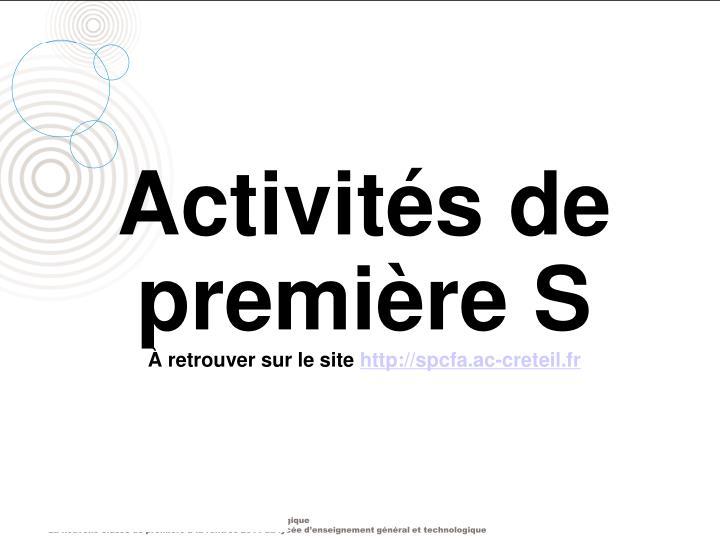 Activités de première S