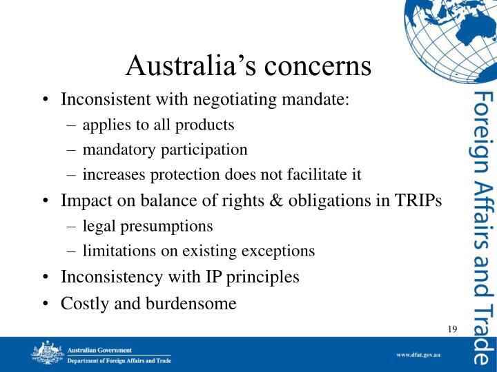Australia's concerns
