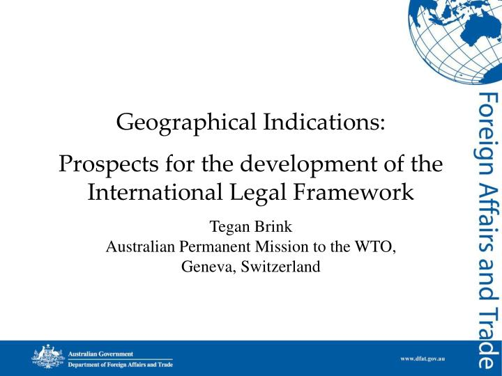 geographical indications prospects for the development of the international legal framework