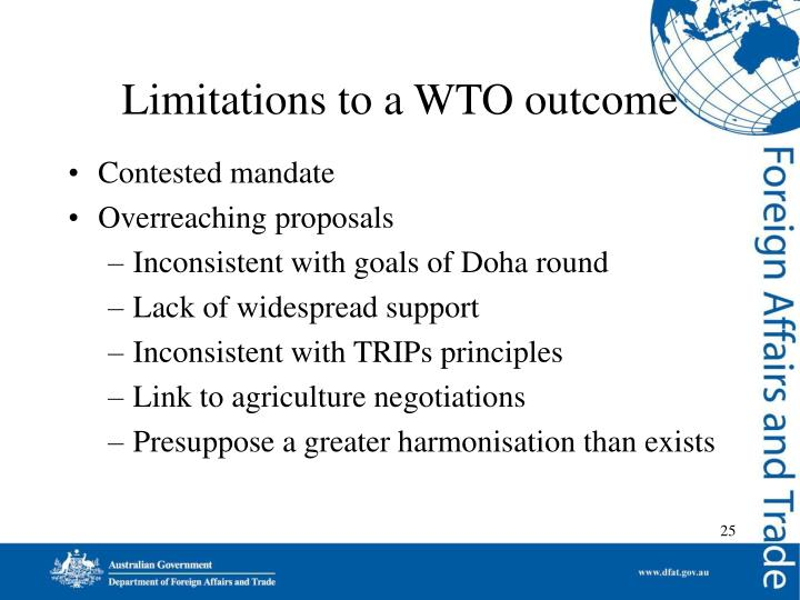 Limitations to a WTO outcome