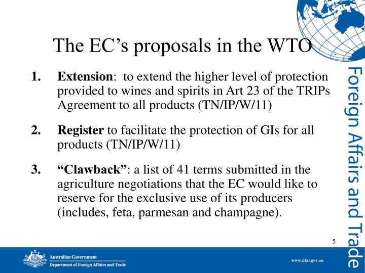 The EC's proposals in the WTO