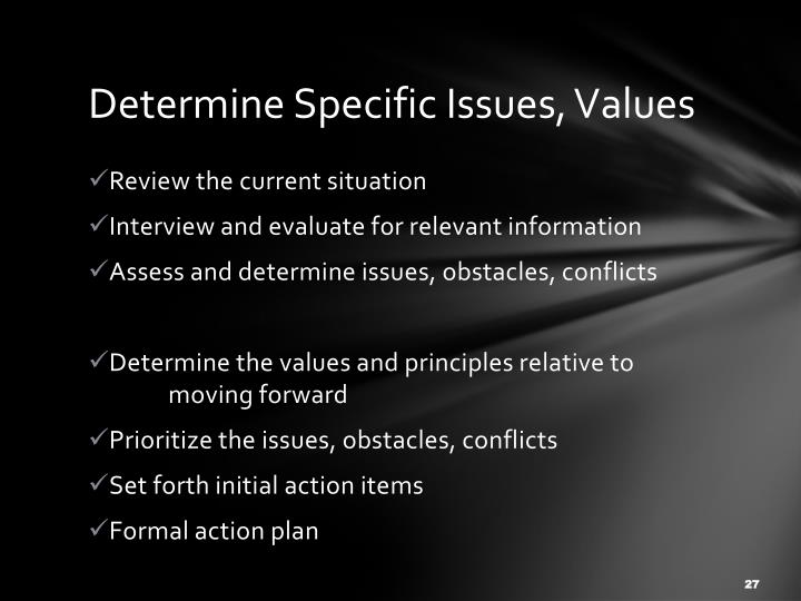 Determine Specific Issues, Values