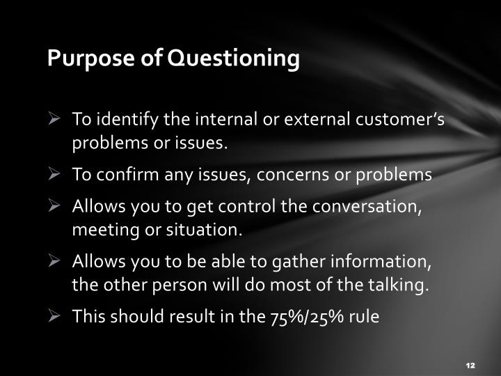 Purpose of Questioning
