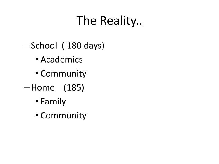 The Reality..