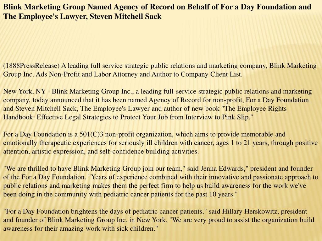 Blink Marketing Group Named Agency of Record on Behalf of For a Day Foundation and The Employee's Lawyer, Steven Mitchell Sack