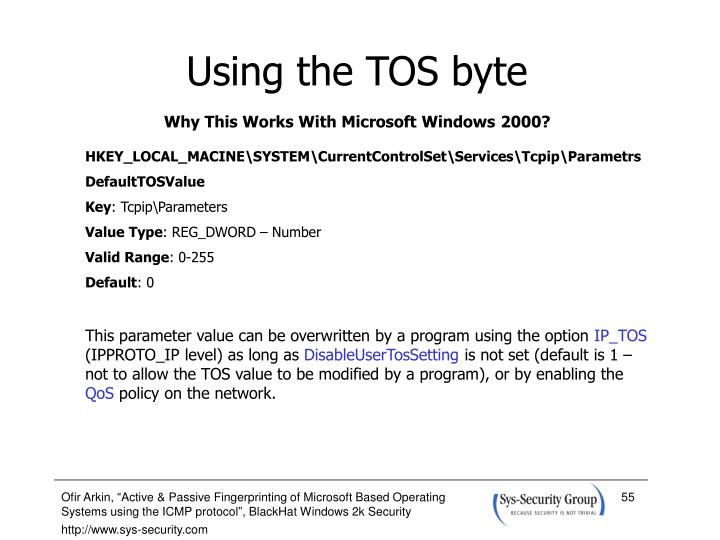 Using the TOS byte