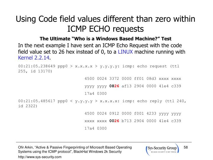 Using Code field values different than zero within ICMP ECHO requests