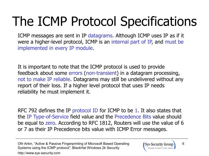The ICMP Protocol Specifications
