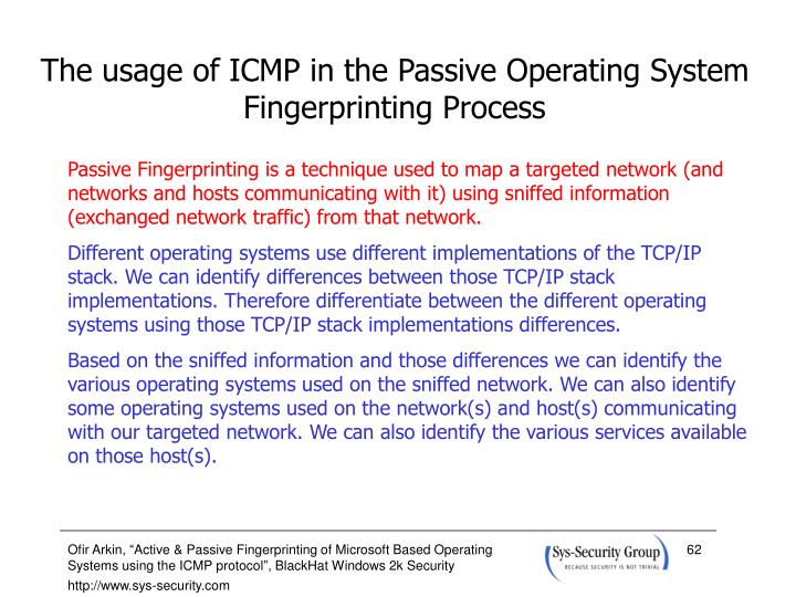 The usage of ICMP in the Passive Operating System Fingerprinting Process