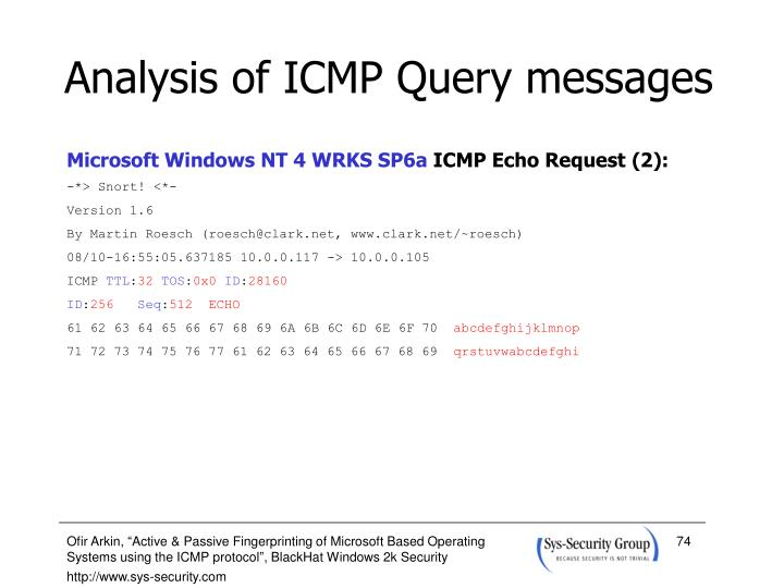 Analysis of ICMP Query messages