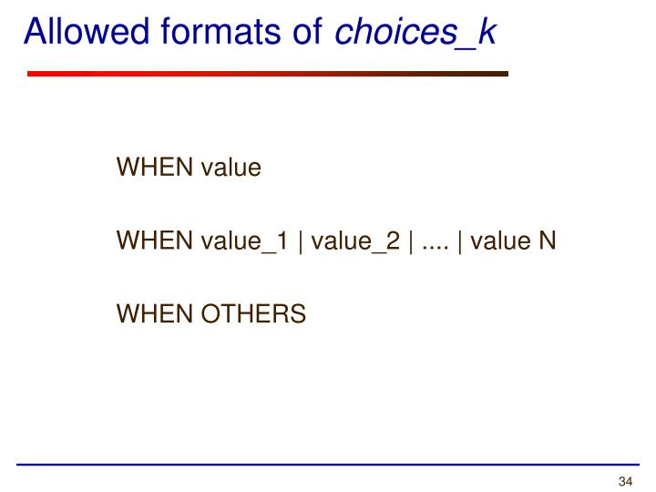 Allowed formats of