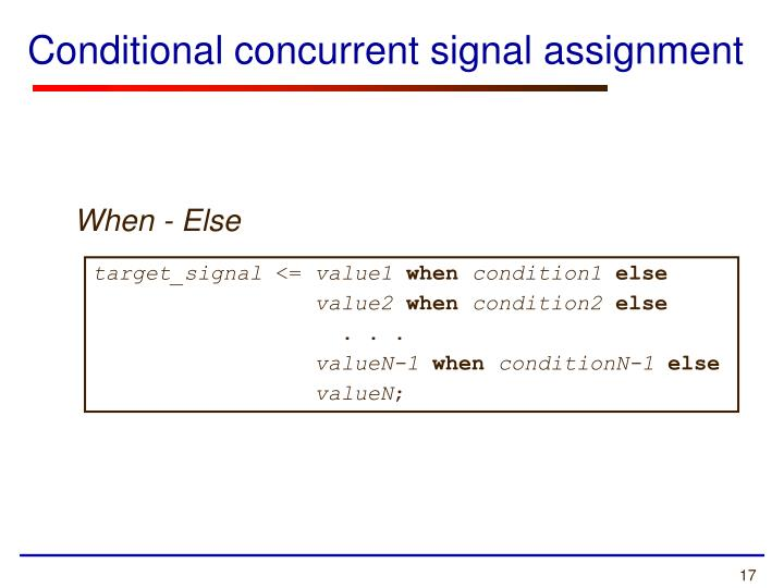 Conditional concurrent signal assignment