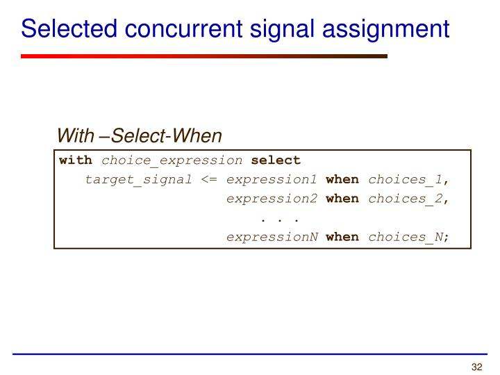 Selected concurrent signal assignment