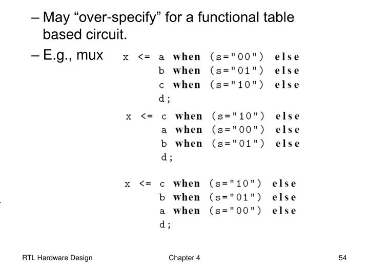 "May ""over-specify"" for a functional table  based circuit."