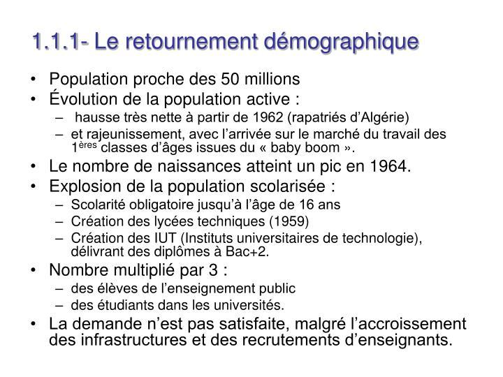 1.1.1- Le retournement démographique
