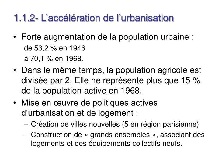 1.1.2- L'accélération de l'urbanisation